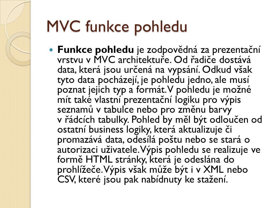 MVC funkce pohledu Funkce pohledu je zodpovědná za prezentační vrstvu v MVC architektuře.