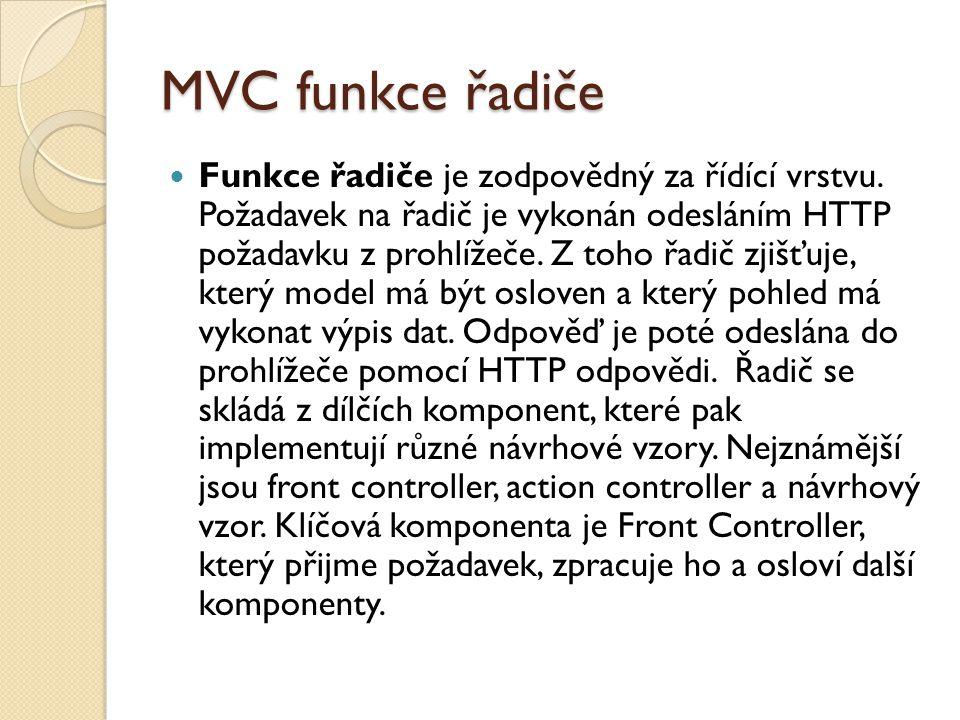 MVC funkce řadiče Funkce řadiče je zodpovědný za řídící vrstvu.