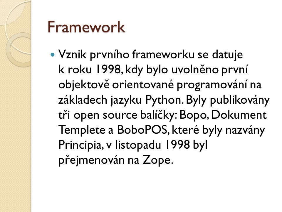 Framework Vznik prvního frameworku se datuje k roku 1998, kdy bylo uvolněno první objektově orientované programování na základech jazyku Python.