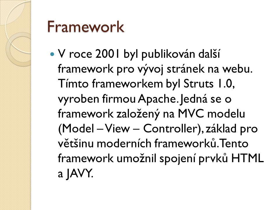 Framework Dalším významný milník webových frameworků byl v roce 2005, kdy byl vytvořen velmi zajímavý framework Ruby On Rails, jak již název napovídá je založen na programovacím jazyku Ruby.