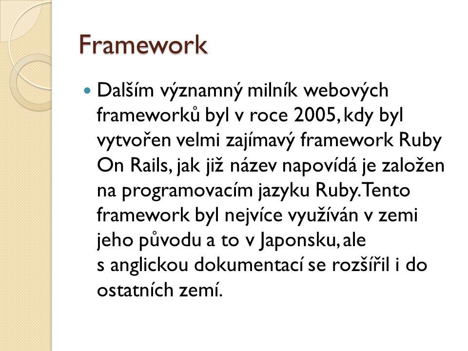 Framework První významný framework pro programovací jazyk PHP byl CakePHP 1.0, který se nechal inspirovat úspěchem Ruby on Rails.