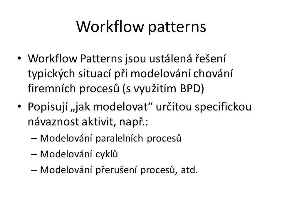 """Workflow patterns Workflow Patterns jsou ustálená řešení typických situací při modelování chování firemních procesů (s využitím BPD) Popisují """"jak modelovat určitou specifickou návaznost aktivit, např.: – Modelování paralelních procesů – Modelování cyklů – Modelování přerušení procesů, atd."""