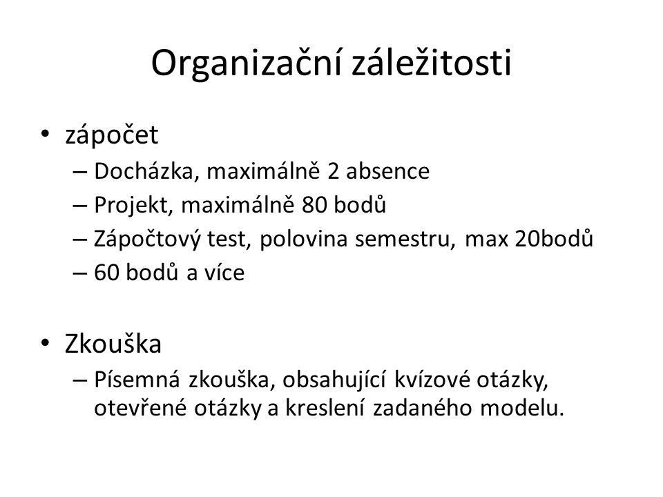 Organizační záležitosti zápočet – Docházka, maximálně 2 absence – Projekt, maximálně 80 bodů – Zápočtový test, polovina semestru, max 20bodů – 60 bodů