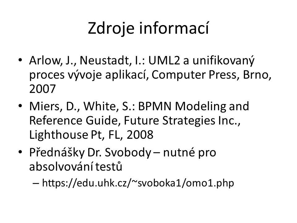 Zdroje informací Arlow, J., Neustadt, I.: UML2 a unifikovaný proces vývoje aplikací, Computer Press, Brno, 2007 Miers, D., White, S.: BPMN Modeling and Reference Guide, Future Strategies Inc., Lighthouse Pt, FL, 2008 Přednášky Dr.