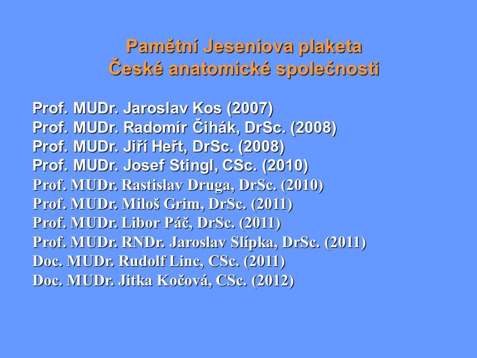 Pamětní Jeseniova plaketa České anatomické společnosti Prof. MUDr. Jaroslav Kos (2007) Prof. MUDr. Radomír Čihák, DrSc. (2008) Prof. MUDr. Jiří Heřt,