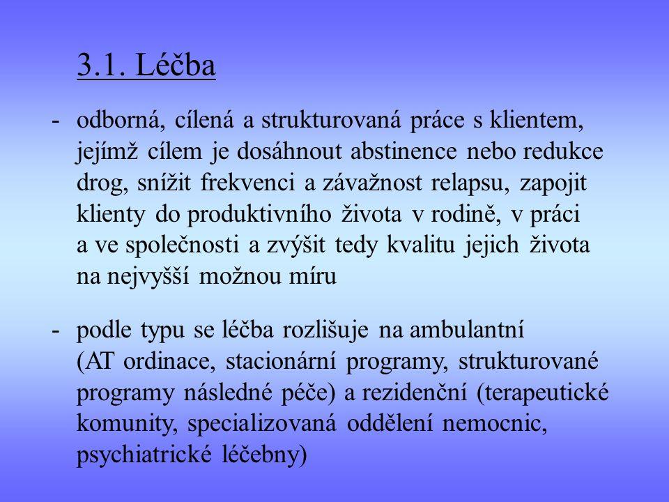 3.1. Léčba -odborná, cílená a strukturovaná práce s klientem, jejímž cílem je dosáhnout abstinence nebo redukce drog, snížit frekvenci a závažnost rel