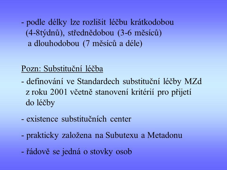 - podle délky lze rozlišit léčbu krátkodobou (4-8týdnů), střednědobou (3-6 měsíců) a dlouhodobou (7 měsíců a déle) Pozn: Substituční léčba - definování ve Standardech substituční léčby MZd z roku 2001 včetně stanovení kritérií pro přijetí do léčby - existence substitučních center - prakticky založena na Subutexu a Metadonu - řádově se jedná o stovky osob