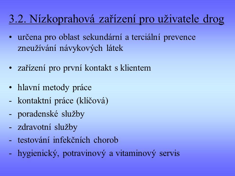 3.2. Nízkoprahová zařízení pro uživatele drog určena pro oblast sekundární a terciální prevence zneužívání návykových látek zařízení pro první kontakt