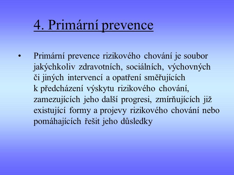 4. Primární prevence Primární prevence rizikového chování je soubor jakýchkoliv zdravotních, sociálních, výchovných či jiných intervencí a opatření sm