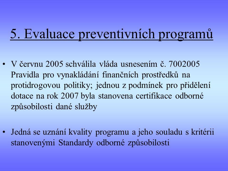 5. Evaluace preventivních programů V červnu 2005 schválila vláda usnesením č. 7002005 Pravidla pro vynakládání finančních prostředků na protidrogovou