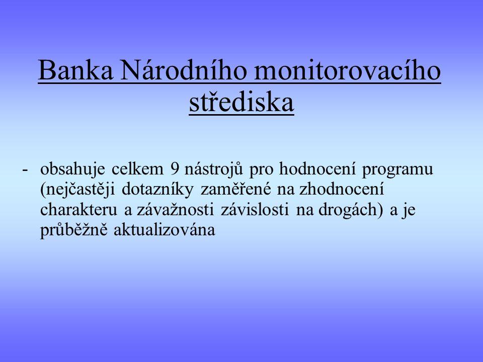 Banka Národního monitorovacího střediska -obsahuje celkem 9 nástrojů pro hodnocení programu (nejčastěji dotazníky zaměřené na zhodnocení charakteru a závažnosti závislosti na drogách) a je průběžně aktualizována