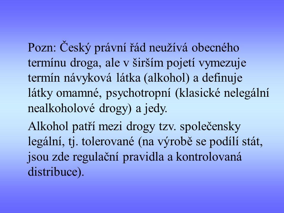 Pozn: Český právní řád neužívá obecného termínu droga, ale v širším pojetí vymezuje termín návyková látka (alkohol) a definuje látky omamné, psychotro