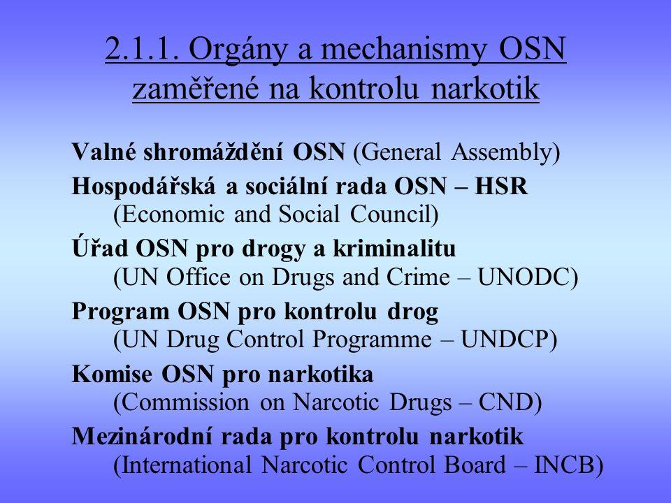 2.1.1. Orgány a mechanismy OSN zaměřené na kontrolu narkotik Valné shromáždění OSN (General Assembly) Hospodářská a sociální rada OSN – HSR (Economic