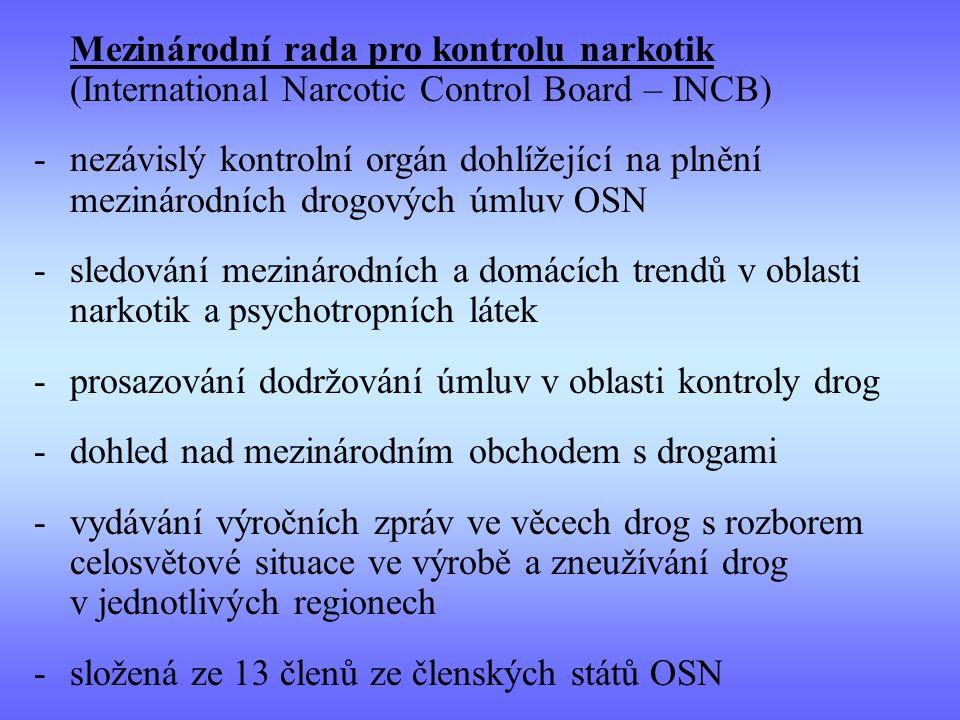 Mezinárodní rada pro kontrolu narkotik (International Narcotic Control Board – INCB) -nezávislý kontrolní orgán dohlížející na plnění mezinárodních dr