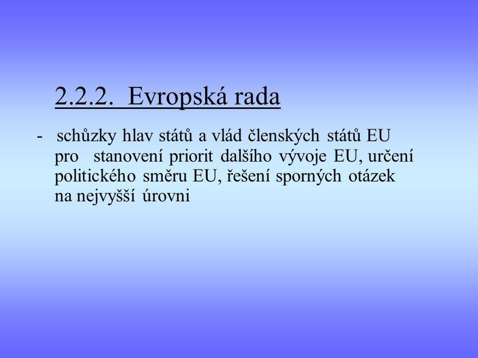 2.2.2. Evropská rada - schůzky hlav států a vlád členských států EU pro stanovení priorit dalšího vývoje EU, určení politického směru EU, řešení sporn