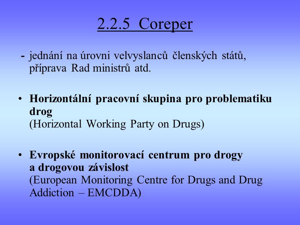 2.2.5 Coreper -jednání na úrovni velvyslanců členských států, příprava Rad ministrů atd. Horizontální pracovní skupina pro problematiku drog (Horizont