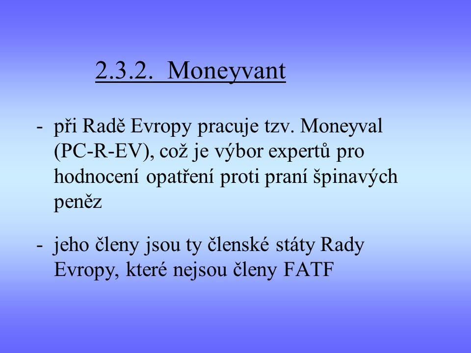 2.3.2. Moneyvant -při Radě Evropy pracuje tzv. Moneyval (PC-R-EV), což je výbor expertů pro hodnocení opatření proti praní špinavých peněz -jeho členy
