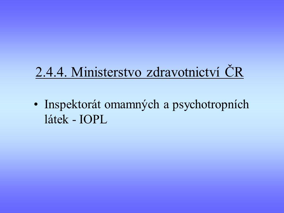 2.4.4. Ministerstvo zdravotnictví ČR Inspektorát omamných a psychotropních látek - IOPL
