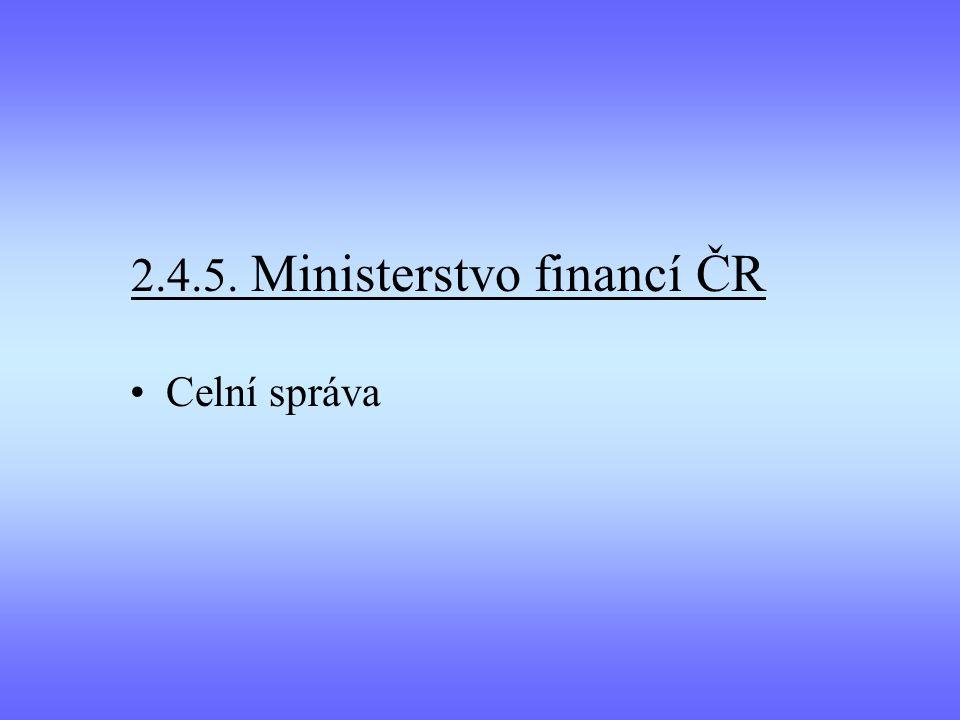 2.4.5. Ministerstvo financí ČR Celní správa