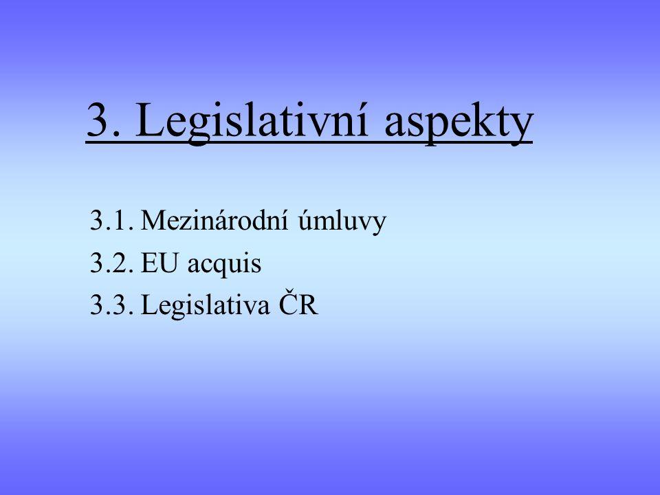 3. Legislativní aspekty 3.1. Mezinárodní úmluvy 3.2. EU acquis 3.3. Legislativa ČR