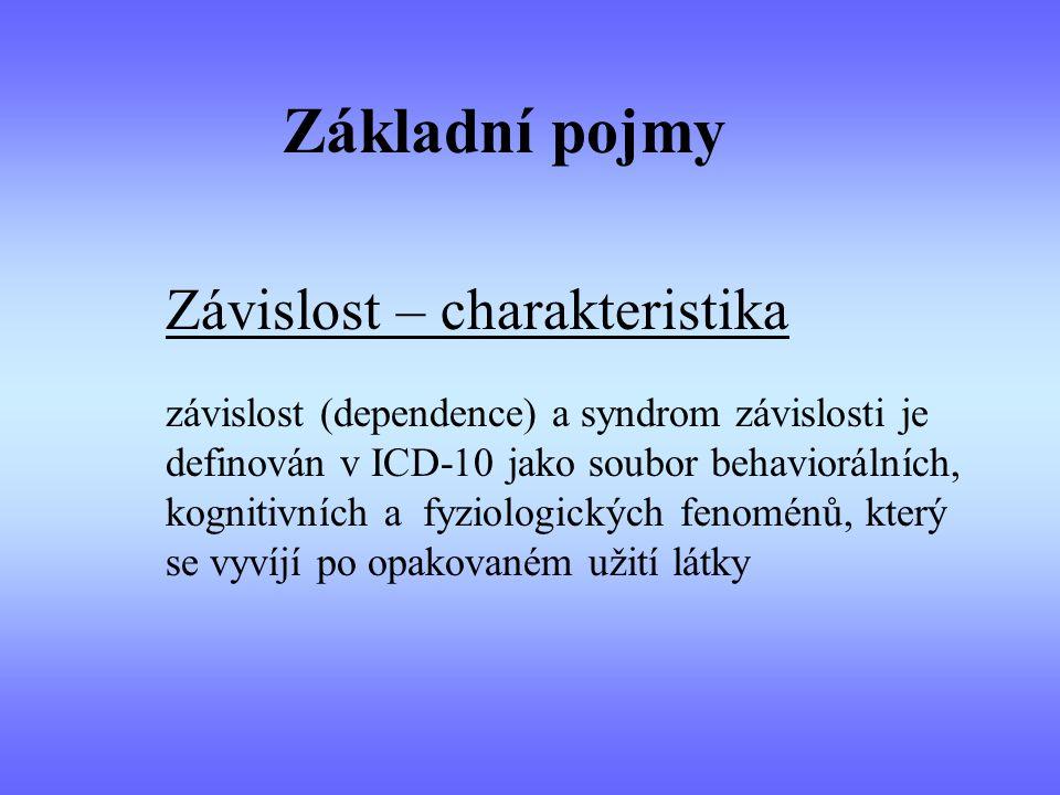 Základní pojmy Závislost – charakteristika závislost (dependence) a syndrom závislosti je definován v ICD-10 jako soubor behaviorálních, kognitivních