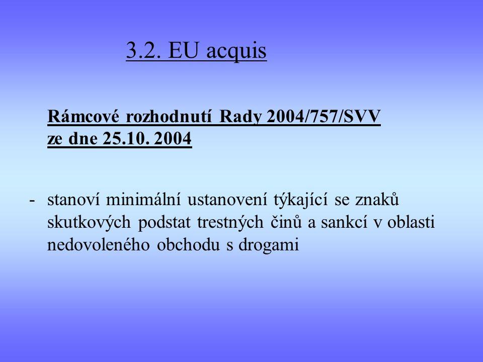 3.2. EU acquis Rámcové rozhodnutí Rady 2004/757/SVV ze dne 25.10. 2004 -stanoví minimální ustanovení týkající se znaků skutkových podstat trestných či