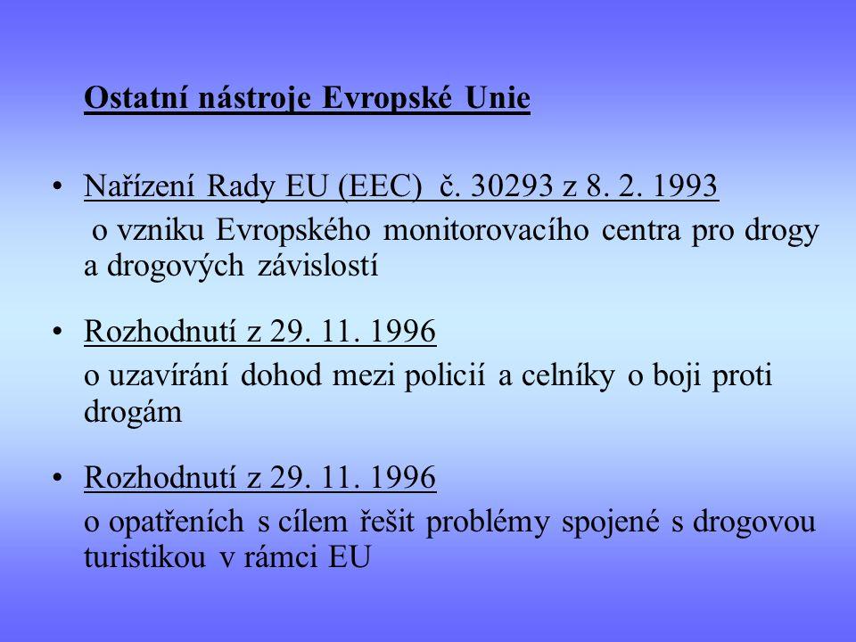 Ostatní nástroje Evropské Unie Nařízení Rady EU (EEC) č. 30293 z 8. 2. 1993 o vzniku Evropského monitorovacího centra pro drogy a drogových závislostí
