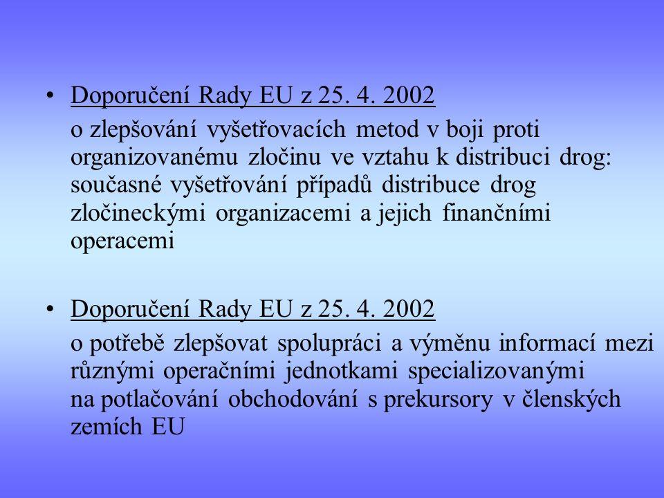 Doporučení Rady EU z 25. 4. 2002 o zlepšování vyšetřovacích metod v boji proti organizovanému zločinu ve vztahu k distribuci drog: současné vyšetřován