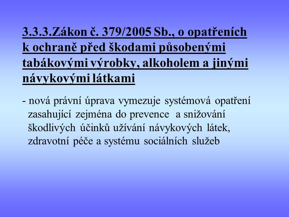 3.3.3.Zákon č. 379/2005 Sb., o opatřeních k ochraně před škodami působenými tabákovými výrobky, alkoholem a jinými návykovými látkami - nová právní úp