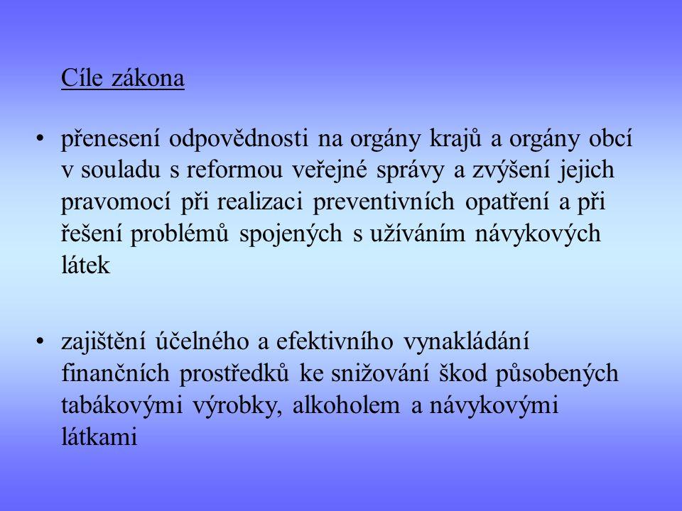 Cíle zákona přenesení odpovědnosti na orgány krajů a orgány obcí v souladu s reformou veřejné správy a zvýšení jejich pravomocí při realizaci preventi