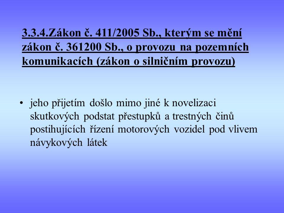 3.3.4.Zákon č. 411/2005 Sb., kterým se mění zákon č. 361200 Sb., o provozu na pozemních komunikacích (zákon o silničním provozu) jeho přijetím došlo m