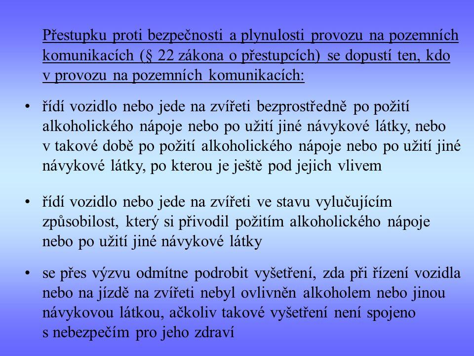 Přestupku proti bezpečnosti a plynulosti provozu na pozemních komunikacích (§ 22 zákona o přestupcích) se dopustí ten, kdo v provozu na pozemních komu