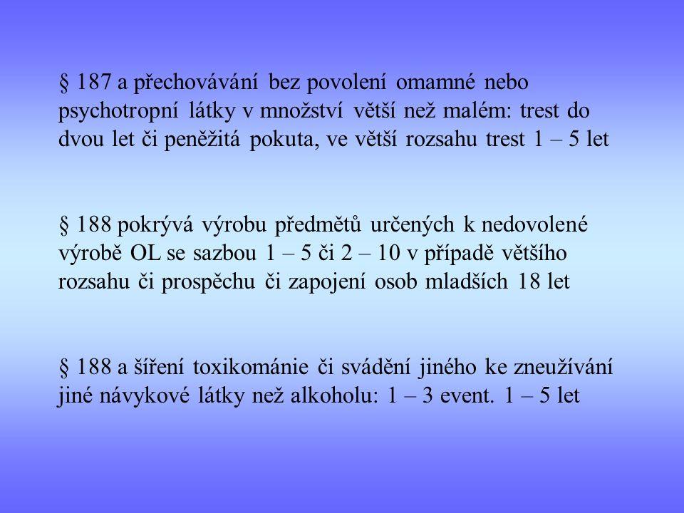 § 187 a přechovávání bez povolení omamné nebo psychotropní látky v množství větší než malém: trest do dvou let či peněžitá pokuta, ve větší rozsahu tr