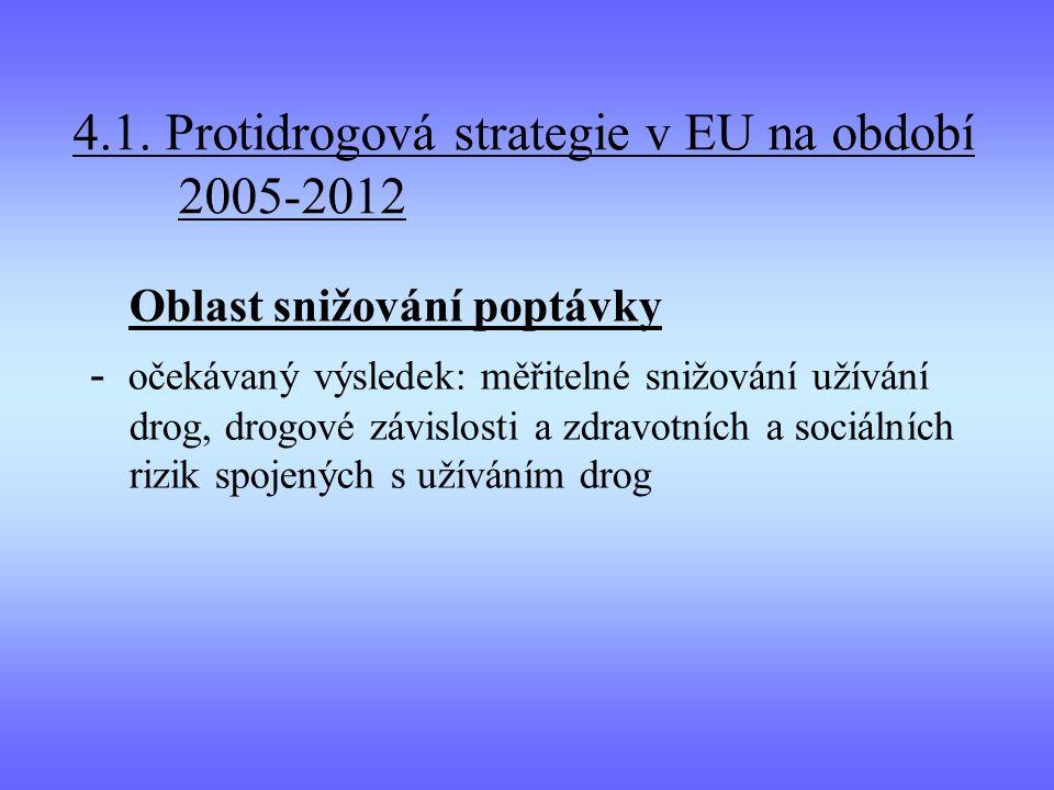 4.1. Protidrogová strategie v EU na období 2005-2012 Oblast snižování poptávky - očekávaný výsledek: měřitelné snižování užívání drog, drogové závislo