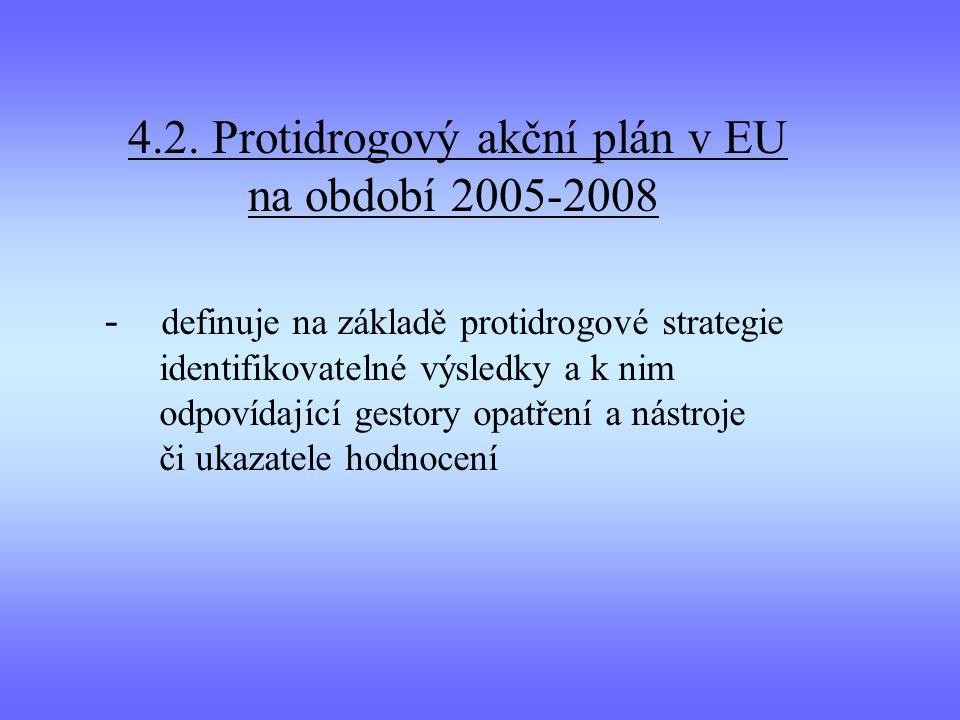 4.2. Protidrogový akční plán v EU na období 2005-2008 - definuje na základě protidrogové strategie identifikovatelné výsledky a k nim odpovídající ges