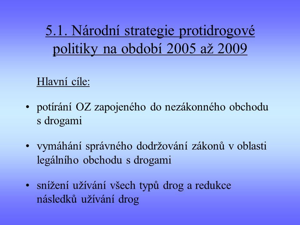 5.1. Národní strategie protidrogové politiky na období 2005 až 2009 Hlavní cíle: potírání OZ zapojeného do nezákonného obchodu s drogami vymáhání sprá