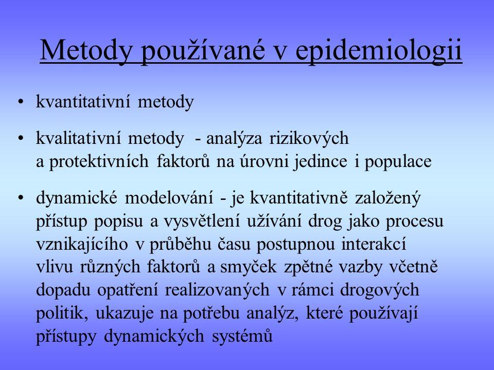 Metody používané v epidemiologii kvantitativní metody kvalitativní metody - analýza rizikových a protektivních faktorů na úrovni jedince i populace dynamické modelování - je kvantitativně založený přístup popisu a vysvětlení užívání drog jako procesu vznikajícího v průběhu času postupnou interakcí vlivu různých faktorů a smyček zpětné vazby včetně dopadu opatření realizovaných v rámci drogových politik, ukazuje na potřebu analýz, které používají přístupy dynamických systémů
