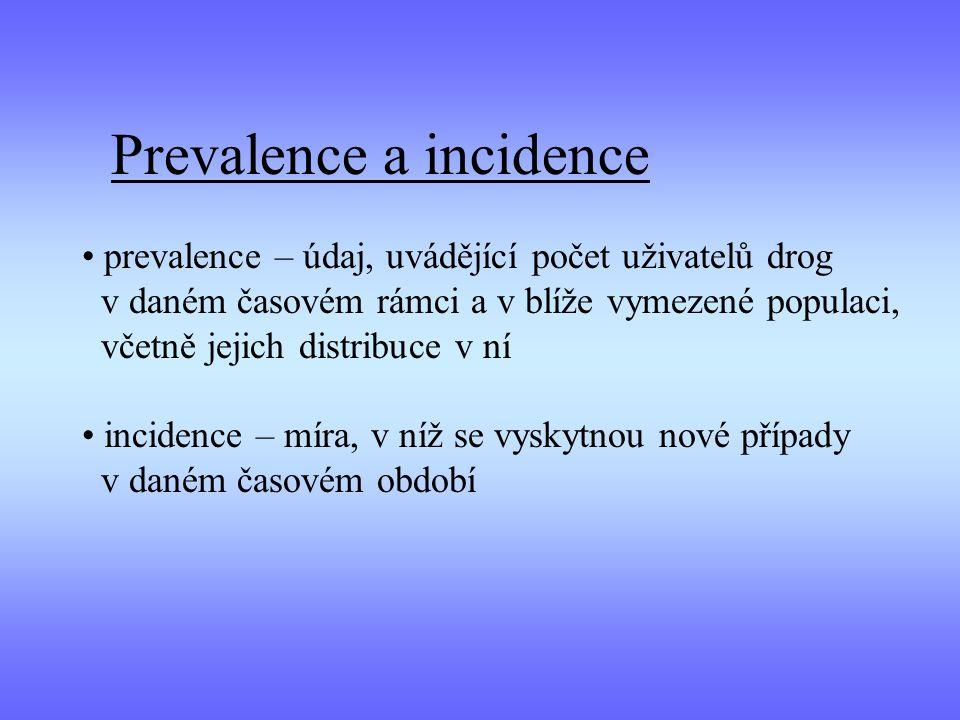 Prevalence a incidence prevalence – údaj, uvádějící počet uživatelů drog v daném časovém rámci a v blíže vymezené populaci, včetně jejich distribuce v ní incidence – míra, v níž se vyskytnou nové případy v daném časovém období