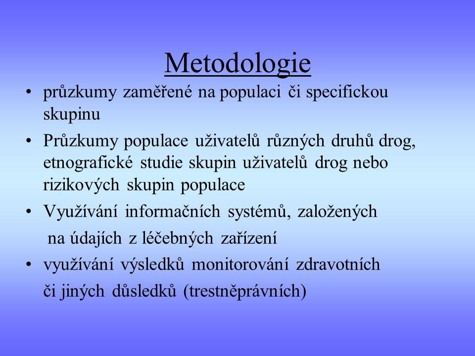 Metodologie průzkumy zaměřené na populaci či specifickou skupinu Průzkumy populace uživatelů různých druhů drog, etnografické studie skupin uživatelů drog nebo rizikových skupin populace Využívání informačních systémů, založených na údajích z léčebných zařízení využívání výsledků monitorování zdravotních či jiných důsledků (trestněprávních)