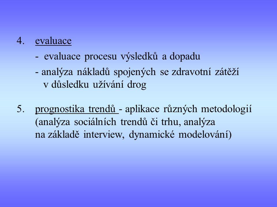 4.evaluace - evaluace procesu výsledků a dopadu - analýza nákladů spojených se zdravotní zátěží v důsledku užívání drog 5.prognostika trendů - aplikace různých metodologií (analýza sociálních trendů či trhu, analýza na základě interview, dynamické modelování)