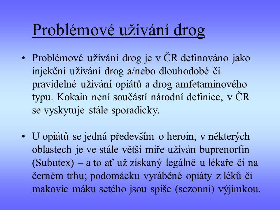 Problémové užívání drog Problémové užívání drog je v ČR definováno jako injekční užívání drog a/nebo dlouhodobé či pravidelné užívání opiátů a drog am