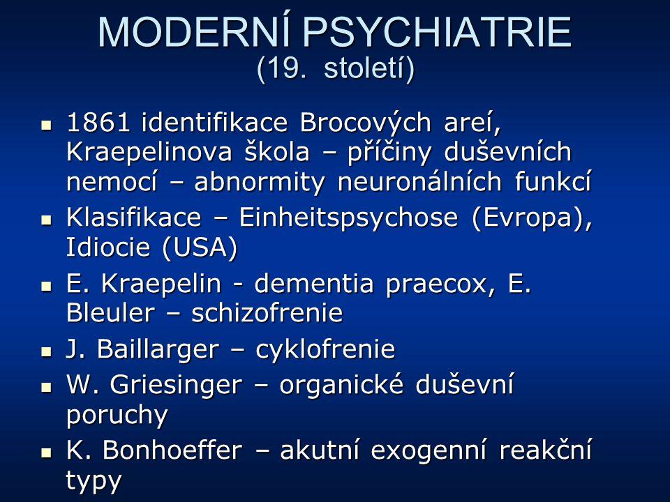 MODERNÍ PSYCHIATRIE (19. století) 1861 identifikace Brocových areí, Kraepelinova škola – příčiny duševních nemocí – abnormity neuronálních funkcí 1861