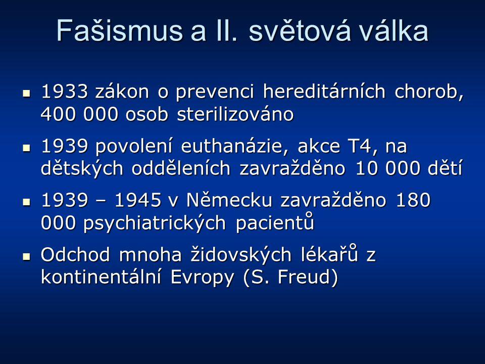 Fašismus a II. světová válka 1933 zákon o prevenci hereditárních chorob, 400 000 osob sterilizováno 1933 zákon o prevenci hereditárních chorob, 400 00
