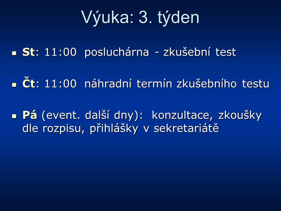 Výuka: 3. týden St: 11:00 posluchárna - zkušební test St: 11:00 posluchárna - zkušební test Čt: 11:00 náhradní termín zkušebního testu Čt: 11:00 náhra