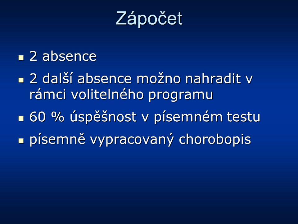 Zápočet 2 absence 2 absence 2 další absence možno nahradit v rámci volitelného programu 2 další absence možno nahradit v rámci volitelného programu 60
