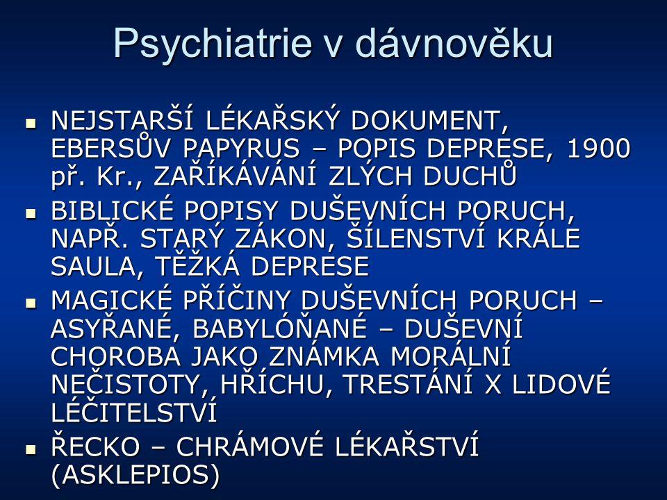 Psychiatrie v dávnověku NEJSTARŠÍ LÉKAŘSKÝ DOKUMENT, EBERSŮV PAPYRUS – POPIS DEPRESE, 1900 př. Kr., ZAŘÍKÁVÁNÍ ZLÝCH DUCHŮ NEJSTARŠÍ LÉKAŘSKÝ DOKUMENT