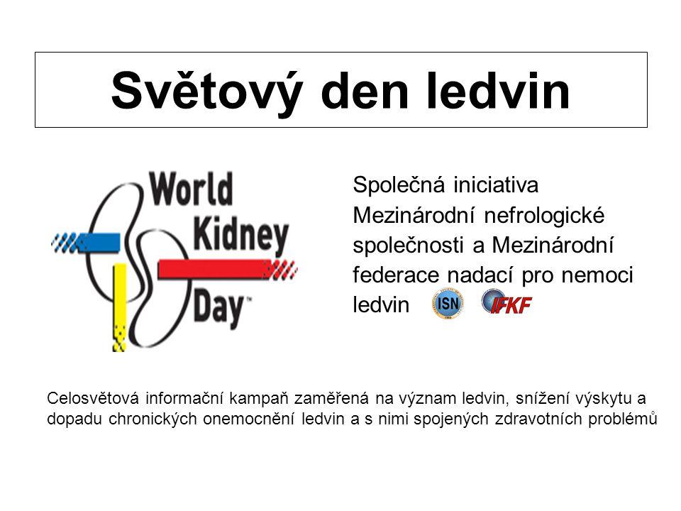 Světový den ledvin Společná iniciativa Mezinárodní nefrologické společnosti a Mezinárodní federace nadací pro nemoci ledvin Celosvětová informační kam