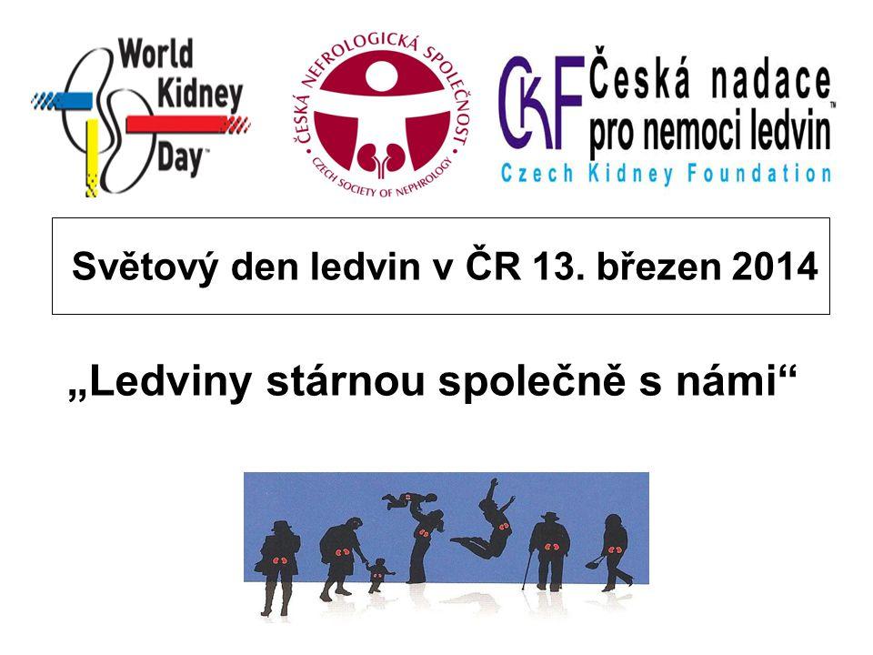 """Světový den ledvin v ČR 13. březen 2014 """"Ledviny stárnou společně s námi"""""""