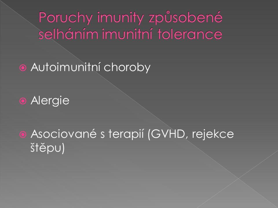  Autoimunitní choroby  Alergie  Asociované s terapií (GVHD, rejekce štěpu)