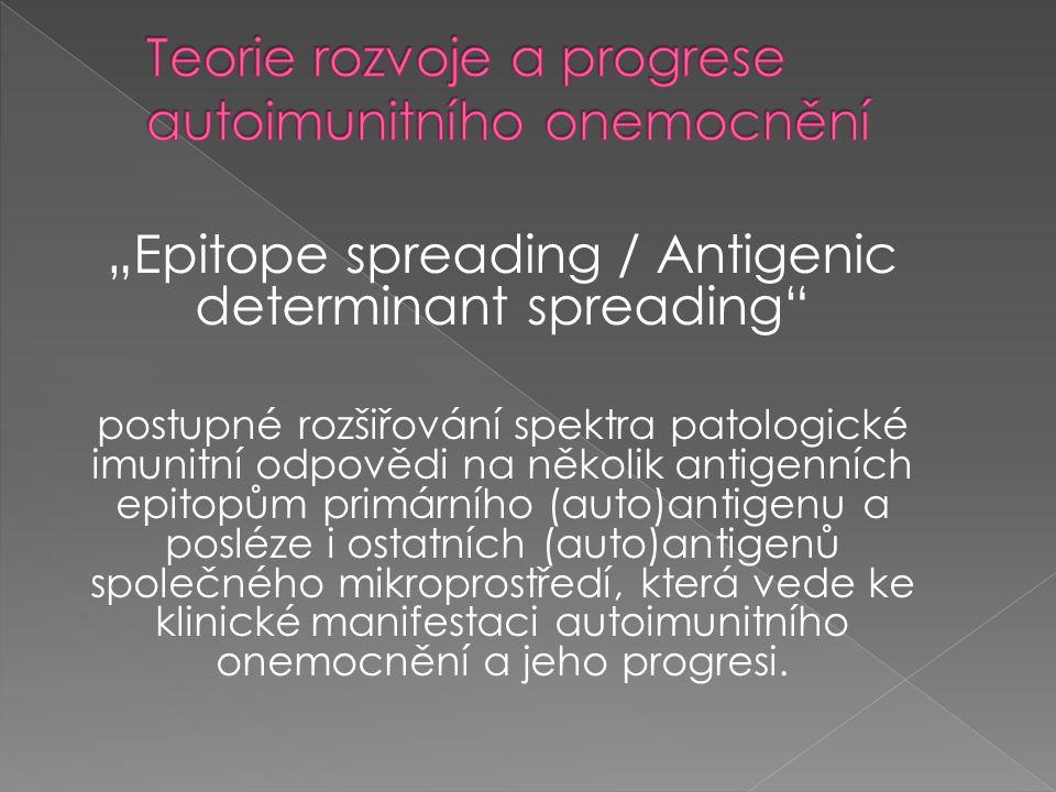 """""""Epitope spreading / Antigenic determinant spreading"""" postupné rozšiřování spektra patologické imunitní odpovědi na několik antigenních epitopům primá"""